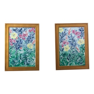 Tropical Floral Paintings - A Pair