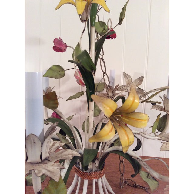 Cottage 1950s French Multi Colored Flower Toleware 6 Light Chandelier For Sale - Image 3 of 10