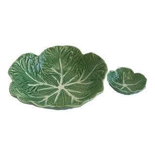 Bordallo Pinheiro Green & White Majolica Style Cabbage Salad Bowl and Nut Bowl For Sale