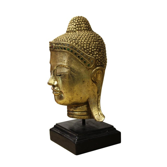Handcrafted Gold Wood Serene Peaceful Buddha Head On Stand For Sale - Image 4 of 5