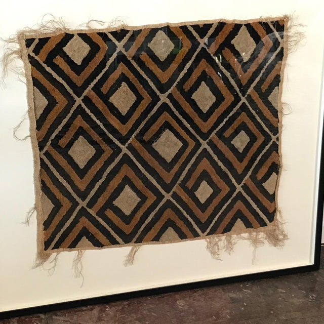 Antique African Diamond Pattern Kuba Cloth Tapestry in Custom Frame For Sale In Los Angeles - Image 6 of 7