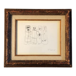 Vintage Original Robert Cooke Abstract Ink Drawing Figures For Sale