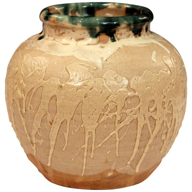Vintage Awaji Pottery Large Japanese Jar Dripped and Splashed Glaze Vase For Sale - Image 9 of 9
