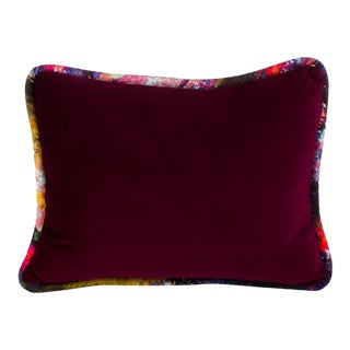 Boho Chic Burgundy Velvet Rectangular Pillow For Sale
