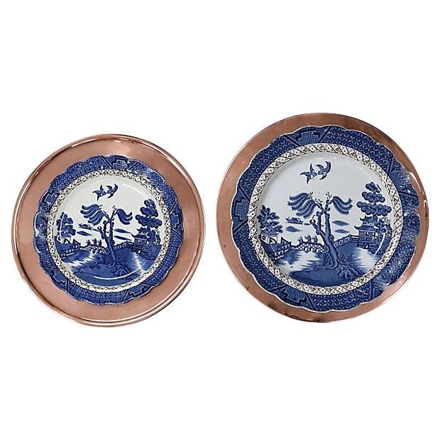 Vintage Willow & Copper Serving Plates, 4 Pieces For Sale