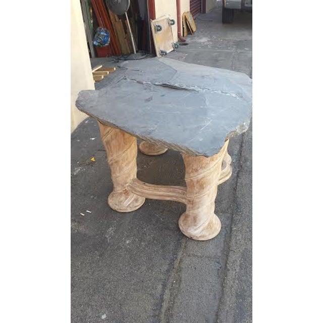 Free Form Slab Slate Top & Wood Base Table - Image 7 of 8