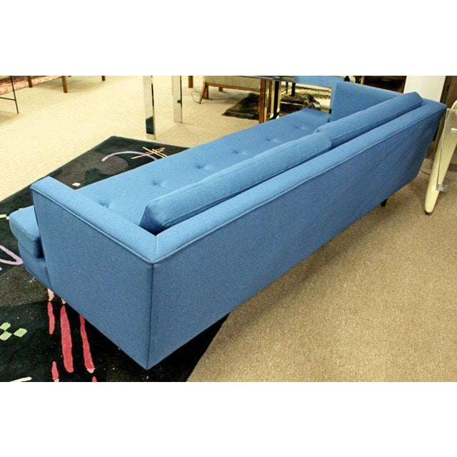 1960s Mid-Century Modern Tufted Blue Sofa For Sale In Detroit - Image 6 of 8