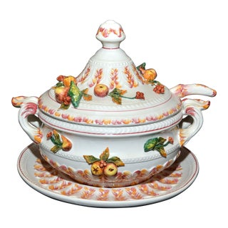 Italian Soup Tureen With Lid, Ladle & Underplate - A Pair