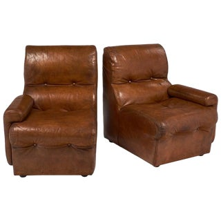 Mid-Century Cognac Leather Armchairs - A Pair For Sale