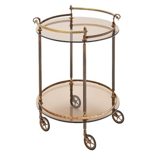 French Brass and Smoked Glass Bar Cart For Sale