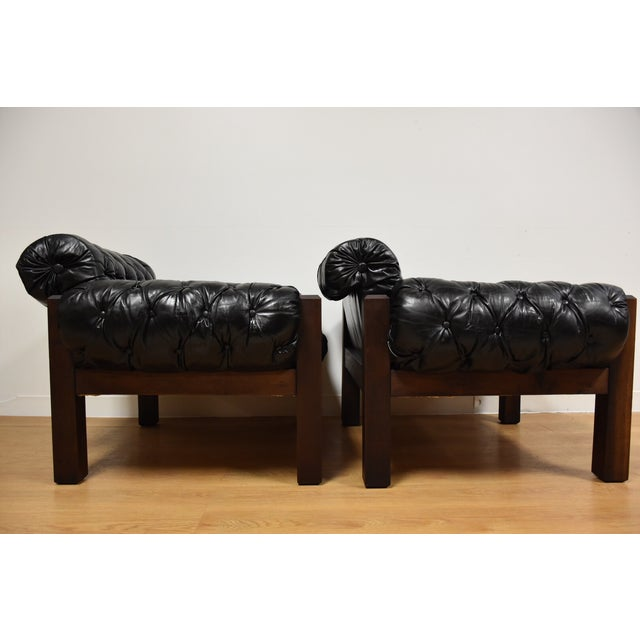 Tufted Leather Lounge Chairs - a Pair - Image 4 of 10