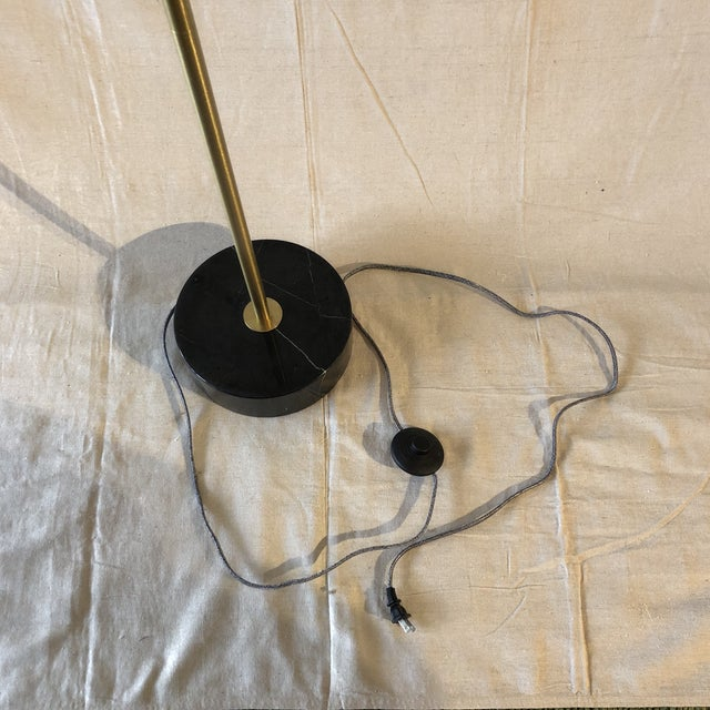 2010s Mid-Century Style Brass and Black Marble Base Floor Lamp For Sale - Image 5 of 7