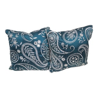 Blue Paisley Pillows, Made in Wales - a Pair For Sale