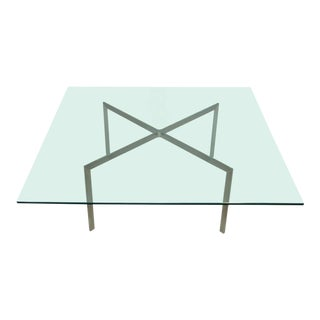 1970s Nicos Zographos Steel and Glass Coffee Table For Sale