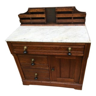 1800s Cottage Walnut and Hickory With Italian Marble Top Wash Stand For Sale
