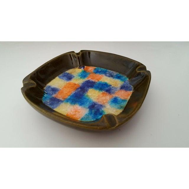 Blue Mid Century Italian Aldo Londi Raymor Fused Glass Pottery Ashtray For Sale - Image 8 of 8