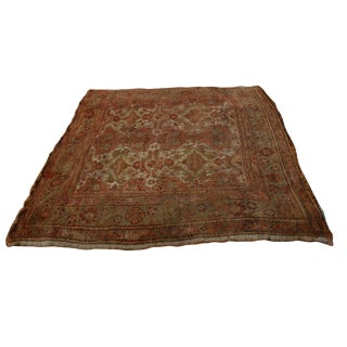 Late 19th Century Antique Smyrna Garden Oushak Rug - 9′7″ × 10′6″ For Sale