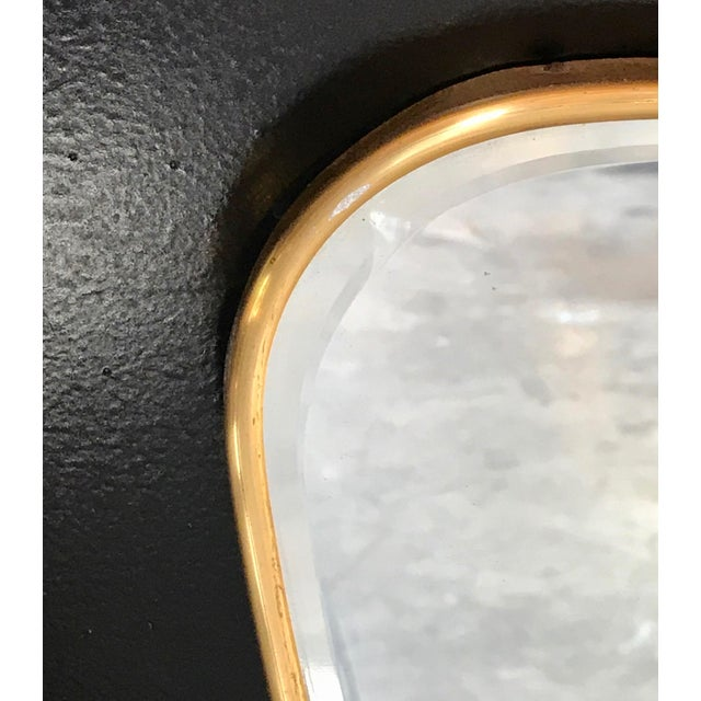 Gold Oversized Italian Minimal Curvilinear Brass Mirror, 1950s For Sale - Image 8 of 10