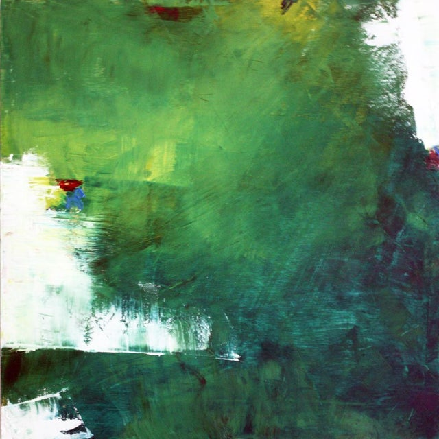 """July"" Green & White Abstract Oil Painting by Paul Ashby - Image 2 of 3"