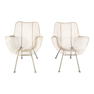 1950s Vintage Russell Woodard Sculptura Wire Armchairs- A Pair For Sale