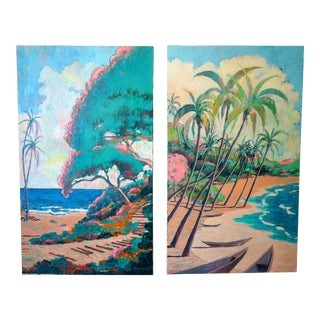Oil on Canvas, Hawaiian Islands by American Artist Nathan Solano- a Pair For Sale