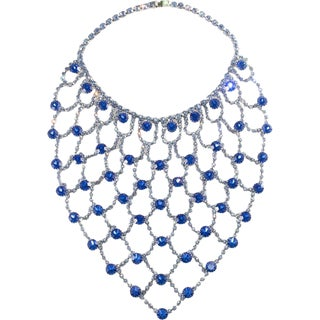 "Dominique 7.5"" Long Bib Web Necklace Royal Blue & Light Blue Rhinestones Huge For Sale"
