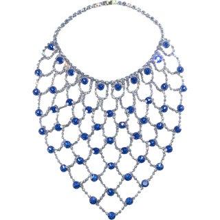 "Dominique 7.5"" Long Bib Web Necklace Royal Blue & Light Blue Rhinestones Huge For Sale"