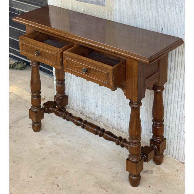 1900 - 1909 19th Spanish Walnut Console Table With Two Drawers For Sale - Image 5 of 12