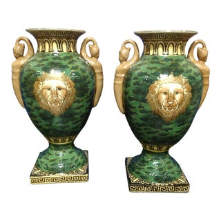 Versace Inspired Emerald/Gold/Black Vases With Greek Key Base - a Pair For Sale