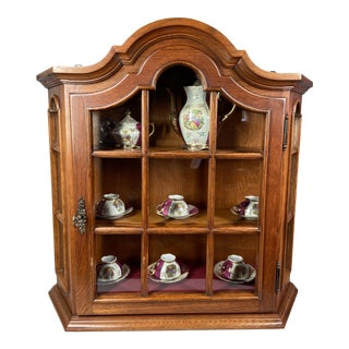 Vintage Tea Cupboard/Cabinet With Velvet Inlay and Wooden Shelves Incl. Tea Set For Sale