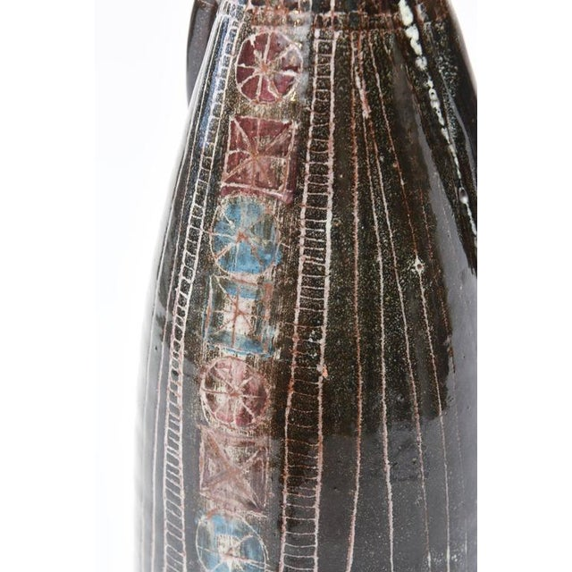 Black Midcentury Modern Glazed Ceramic Studio Gambone Style Vessel Sculpture For Sale - Image 8 of 11