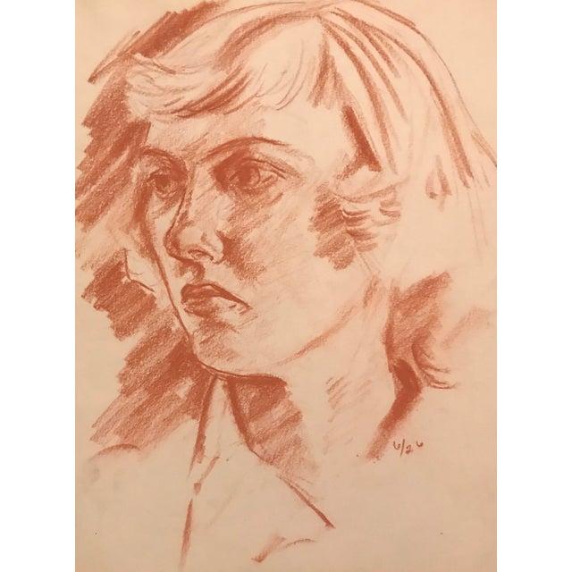 Illustration Sanguine Portrait of a Lady Drawing C. 1950 For Sale - Image 3 of 3