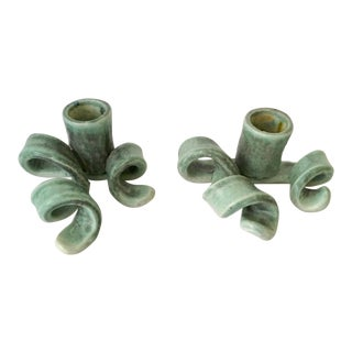 1990s Contemporary Turquoise Pottery Candleholders - a Pair For Sale