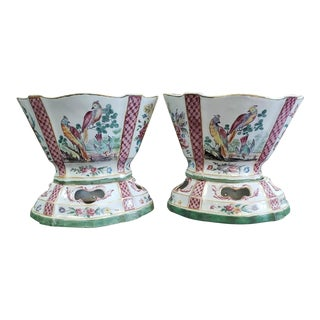 Mid 18th Century French Sceaux Penthieve Faience Porcelain Cachepots on Stands - a Pair For Sale