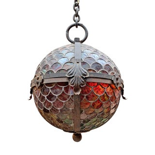 19th Century American Stained Glass Pendant For Sale