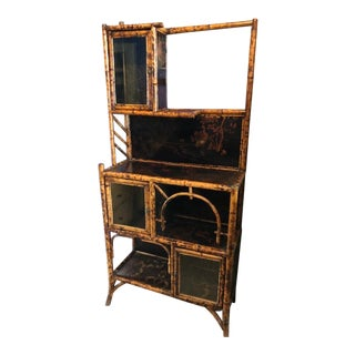 19th Century Boho Chic Bamboo and Lacquer Cabinet For Sale