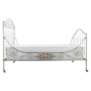 French 19th Century Painted Iron Campaign Daybed For Sale