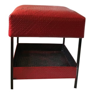 Vintage Red Woven Rattan Poof With Shelf For Sale