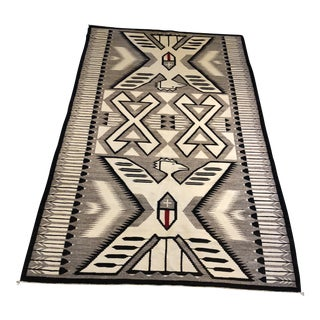 Navajo Eagles Emblem Pictorial Rug - 4′7″ × 8′ Authentic. For Sale