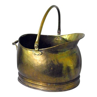 Late 19th Century Victorian Brass Coal Scuttle or Firewood Bucket