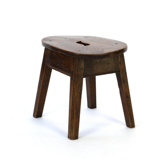 Primitive Oval Elmwood Work Stool With Pierced Top, English, Circa 1830 For Sale - Image 3 of 5