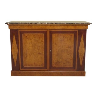 Continental Marble Top Walnut Server Commode Cabinet For Sale