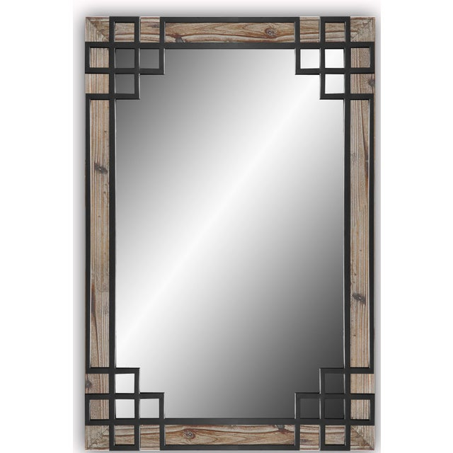 Wood Frame, Black Iron Overlay Wall Mirror For Sale - Image 4 of 4
