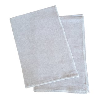 Tan Beige Yarn Dyed Linen Kitchen Tea Dish Towels - a Pair For Sale