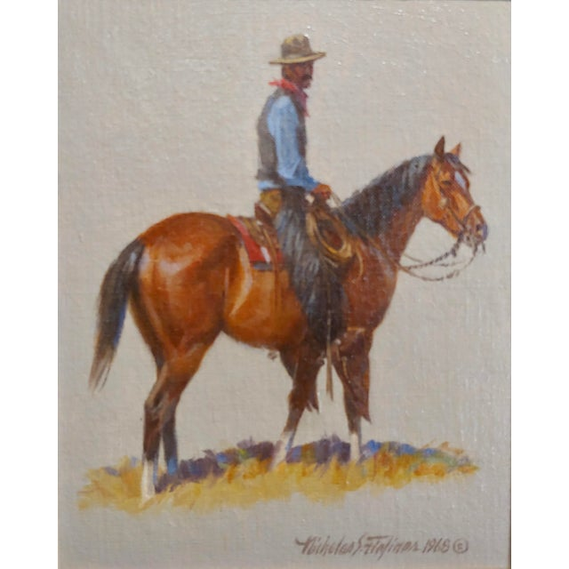 "Contemporary 1968 ""Cowboy"" Western Oil Painting by Nicholas Samuel Firfires For Sale - Image 3 of 8"