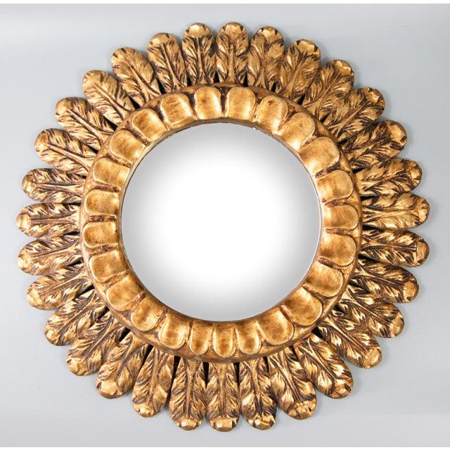 Wood Mid Century French Gilt Wood Sunburst Mirror For Sale - Image 7 of 7