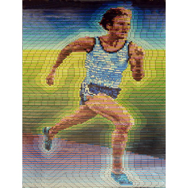 A substantial and period oil of Olympian Bruce Jenner (now Caitlyn Jenner) composed of contrasting mosaic-like rectangles...