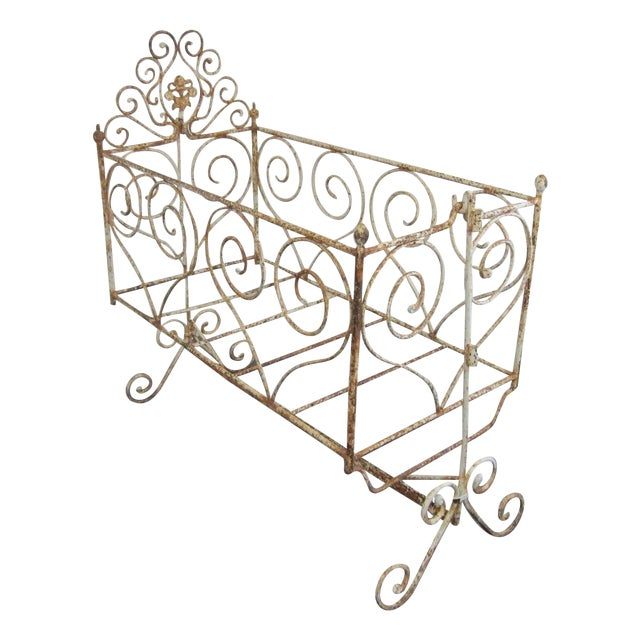Victorian Antique Wrought Iron Scrollwork Crib - Image 1 of 7