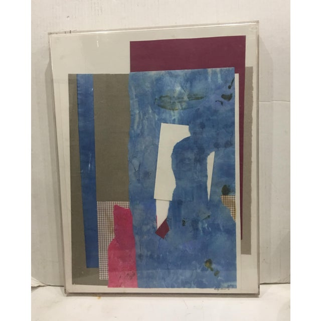 A wonderful 1983 Signed Collage by Mitzi Levin. Great composition and colors. In a plexiglass frame. A beautiful and...