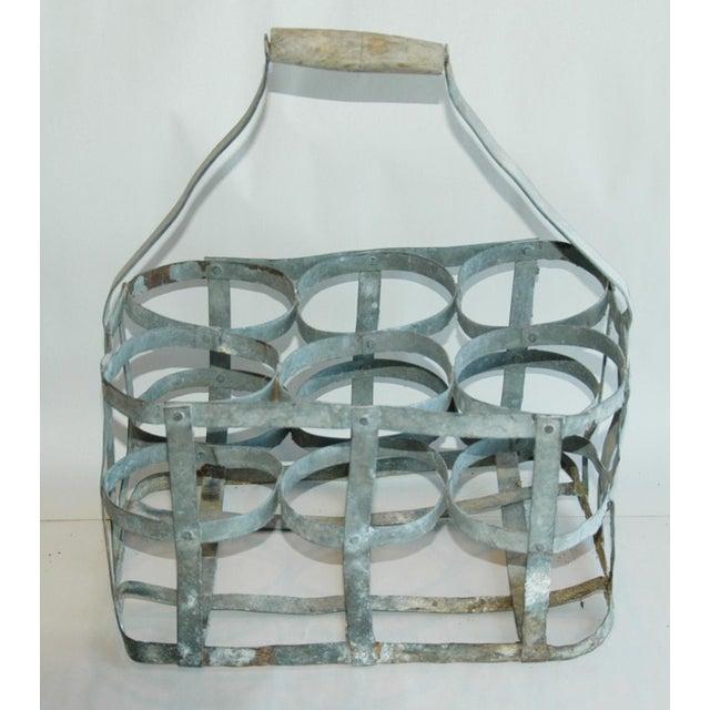 1930s French Gray Porte Bouteille Zinc 6 Bottle Wine